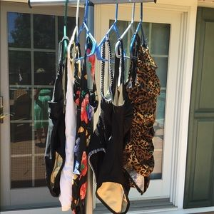 6 one-piece bathing suits.
